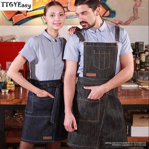 New Denim Cowboy Apron Pocket BBQ Senior Jeans baking Bib Kitchen Half apron for Women Men cooking Waitress Custom Print1