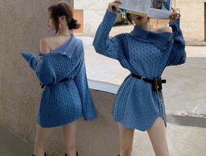 New Style Women Knit Sweater dresses Snowflake Fawn Pullover Jumper Top Dress Knitdress Long Sweatershirt Outerwear