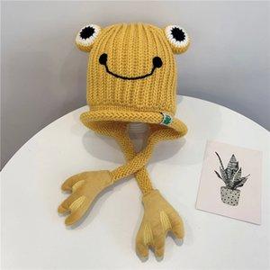 Korean children's autumn and winter plus velvet hats for men and women baby woolen ear caps cartoon cute frog warm hat