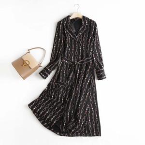 Withered outono vestidos de fiesta de noche Inglaterra estilo escritório senhora moda elegante cadeia impressão festa vestido mulheres vestidos c0122