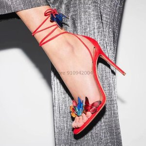 Sandales Femmes Butterfly Fleur Haute Hells Hells Fête Chaussures Chaussures Femme Chaussure Sangle Zapatos de Mujer Gladiator Dacette Sandalia1