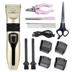 Electric Clipper Hair Trimmer Kit Rechargeable Pet Dog Cat Low-noise Grooming Shaver Cut Machine Set+spare Blade