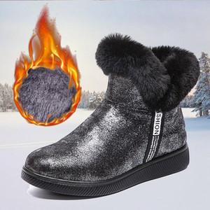Pmoiste 2021 delle donne stivali invernali peluche velluto Stivaletti per Donna Neve Paillettes impermeabile cerniera femminile Boot