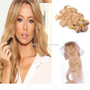 Body Wave Honey BLNde 27 Haare 3bundles mit 360 Frontal-Verschluss # 27 Prepucked 360 Frontal mit reinem Haarverlängerung Haar
