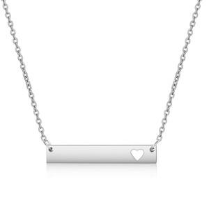 New Love Heart Bar ожерелья золото Твердая Blank Bar ожерелье ожерелья из нержавеющей стали для покупателя Собственное Гравировка ювелирных изделий DIY
