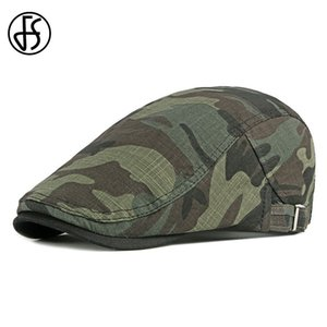 FS Summer Army Green Camouflage Beret Cap Men Women Solid Berets Slouchy Hat Peaky Blinder Flat Caps Casquette Gorras Hats 201026