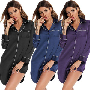 Euro Stil Bayanlar Gece Elbise Uzun kollu Ince İpek Orta Uzunlukta Gevşek Gecelik Kadın Saten Gecelikler Ev Nightshirt Pijama