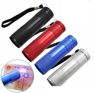 9 LED UV flashlight high quality portable Aluminium Ultra Violet Blacklight 9LED Flashlights Torch mini 395-400NM purple lamp