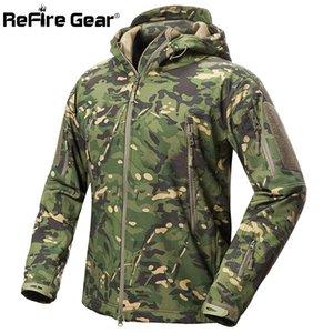 ReFire Gear Shark Skin Soft Shell Tactical Military Jacket Men Waterproof Fleece Coat Army Clothes Camouflage Windbreaker Jacket 201019