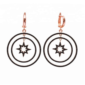floating dangling round circle north star charm drop earring Rose gold color geometric black cz circle luxury woomen jewelry