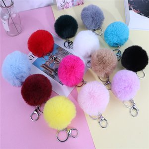 Imitate Rabbit Pom Pom Car Keychain Handbag Key Ring Fur Ball Key chains Rings 3.15 Inch Lovely Backpack Wallet Keyfob .