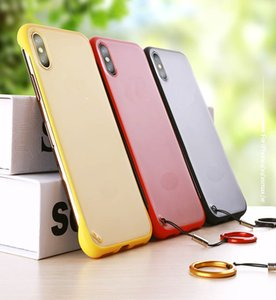 Ultra Thin Matte Back Cover with Metal Finger Ring Strap Transparent Hard PC Phone Case for iPhone 7 8PLUS XR X MAX 11