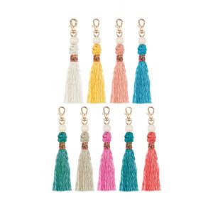 Retro DIY Weave Tassel bag hangs handmade knot beads key ring holders fashion jewelry will and sandy
