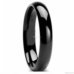 Classic Tungsten Carbide Black Polished Wedding Band Men Womens Engagement Bridal Ring Statement Charms Infinity Jewelry Christmas Gifts