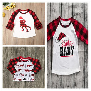 Children Christmas Clothing Kids T-shirt Pullovers Tops Ins Baby Girls Plaid Long Sleeve T Shirts Xmas Red Grid Dinosaur Tshirt E102906
