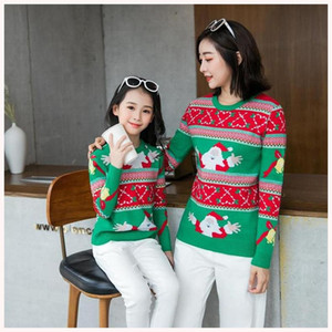 Mother And Daughter Xmas Sweater Girls cartoon knitting sweater pullover Mommy And Me Matching jumper