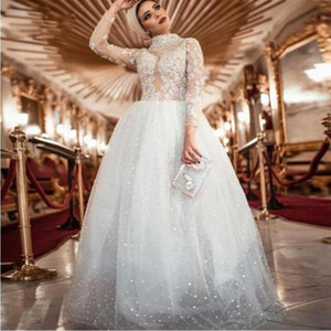 2021 White A Line Pearls robes de caftan abaya dubai Prom Dresse High Neck Long Sleeve Tulle Evening Gowns Formal Wear