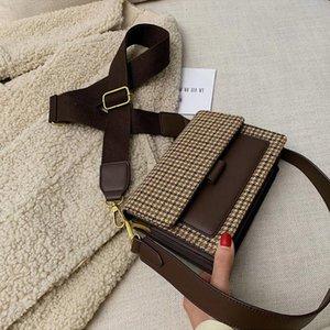 Плед панель Tweed Bload Bag Bag женская сумка для плеч Новый стиль 2021 холст пояса французский стиль Mensengenger Crossbody Bag SAC