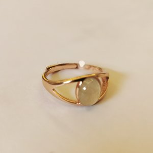 Eye shape ring 925 silver rose gold plated