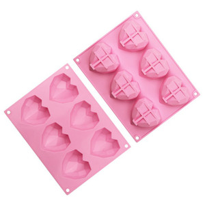 Diamond Love Heart-Shaped Silicone Molds Baking Moulds for Sponge Cakes Mousse Chocolate Dessert Bakeware Pastry Mould Handmade Gift