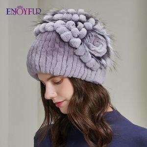 ENJOYFUR Fashion Women Winter Hats Natural Rex Fur knit Flower Bonnet Warm Casual Female New Brand Russia Earflap Beanies