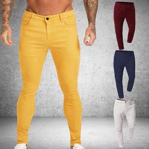 Hommes stretch Skinny Jeans Denim Solid 4 Couleur Casual Slim Fit pantalon Pantalon Homme Jaune Rouge Gris Homme Pantalons Slim