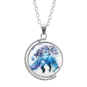 Collana del tempo della volpe della volpe della farfalla accessorio di moda con doppio vetro girevole