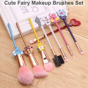 Cartoon Makeup Brushes Set Cute Fairy Brush 8pcs Rose Gold Cosmetic Brushes Eyeshadow Foundation Lips maquillaje Blending Blush Eyebrow Tool