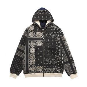20fw mode automne hiver japon bandana impression irrégulier patchwork zipper sweat à sweat de skette à skateboard unisexe sweat-shirt à capuche