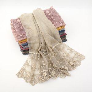 Fashion lace embroidered cotton scarf hijab plain bead scarves women muslim wrap headscarf muffler shawls 190*80cm 20pcs lot