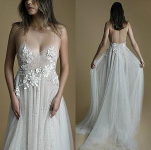 Sequins Beach Wedding Dresses A Line Sweep Train Lace Applique Spaghetti Bridal Gown Custom Made Wedding Dress