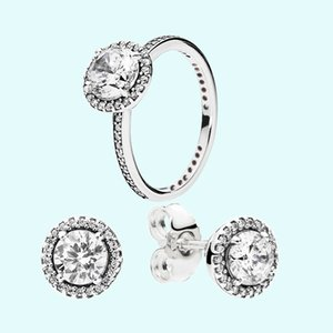 Orecchini delle anelli di nozze delle donne Set di orecchini Big CZ monili diamante 925 anelli in argento sterling con scatola originale per orecchini da donna Pandora