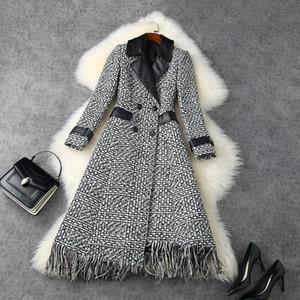 Abbigliamento donna europea e americana 2020 inverno nuovo stile manica lunga risvolto doppio petto nasselli modabile tweed cappotto