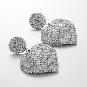 AENSOA Luxury Exaggerated Fashion Crystal Heart Big Earrings Trendy Elegant Long Women Statement Drop Earrings Party Jewelry
