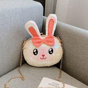 Female bag Fashion design shoulder bag,Cartoon style bunny bear Sequin chain bag Mini mobile phone bag, coin purse Girl student bag