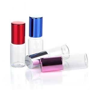 5 ml de cristal claro de las botellas de aceite esencial de rodillos con las bolas de cristal de rodillos Aromaterapia Perfumes Bálsamo para Labios rollo en botellas AHD2942