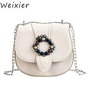 Weixier 2019 Fashion New Saddle Bag Quality PU Leather Designer Designer Bag Diamond Lock Catena a tracolla Borsa a tracolla LQ-16 C0121