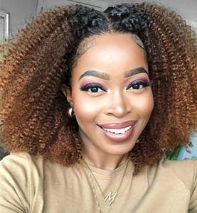Afro rizado peluca rizada Honey Blonde Ombre parte u pelucas del pelo humano para las mujeres Negro 1B 27 brasileña Remy peluca de pelo densidad de 150%