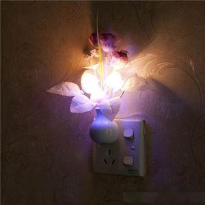 US Plug   EU Plug Mushroom Rose Light Sensor Home Bedroom Decor Colorful Nightlights 110V-220V Luminaria LED Night Light Lamp