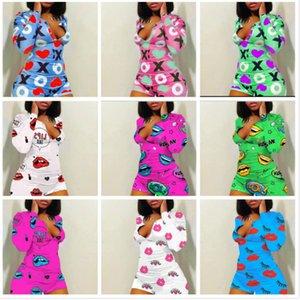Designer Women Pajama Onesies Nightwear Playsuit Workout Button Skinny Cartoon Print Jumpsuits V-neck Short Onesies Rompers C9012