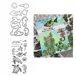 Oecan Animals Swim In The Sea Sea turtle Clear stamp and Coordinating Die for Scrapbooking Cards Making Crafts New 2020 Die cut Q1114