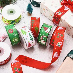 12 стиля 2.5cm рождественских украшения праздничной Supplies лент ленты Рождество елка палевой снежинка лента доставка DHL DHA1967