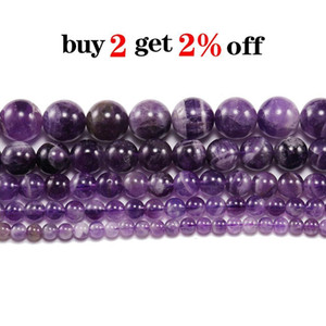 1strand Lot 6 8 10 12 Mm Natural Dream Purple Amethystes Crystal Stone Round Beads Loose Spacer Bead For Jewelry Making Bracelet H bbyiLe
