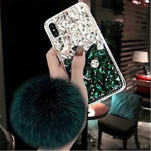 Top quality Designer Mobile phone shell Bling Crystal Diamond Fox Fur Ball Pendant Cases For Iphone 11
