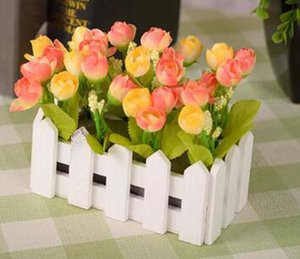 New Design 1 Set 16cm Wooden Fence Vase Flowers Rose And Daisy Artificial Flower Set Silk Flowers Home Decoration Birthday Gift