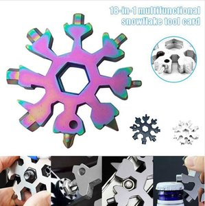 18 in 1 Snowflake Spanner Keyring Hex Multifunction Outdoor Hike Wrench Key Ring Pocket Multipurpose Camp Survive Hand Tools DDA650