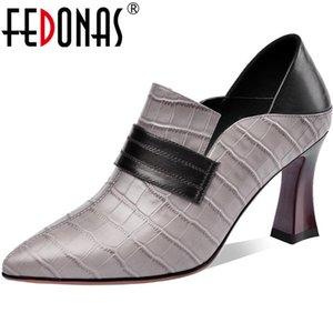 Fedonas Poco de cuero genuino de Fedonas Zapatos de mujer Concisa Sexy Spring Puntero puntiagudo Bombas de Toe Trabajo Noche Club Tacones Altos Zapatos Mujer Tacón