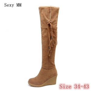 Winter Warm Wedges Snow Boots Women Over the Knee Boots Woman Thigh High Plus Size 34- 40 41 42 43