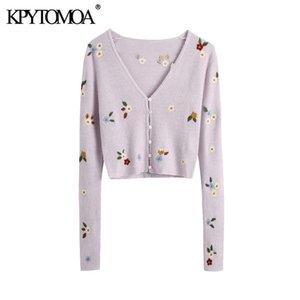 KPYTOMOA 여성 패션 꽃 자수 자른 니트 카디건 스웨터 빈티지 긴 소매 여성 자켓 칙 Y200915 탑