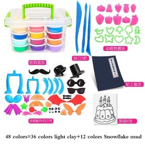 48 Color Soft Light Clay Moldes Plastili DIY Toys Children Educational Air Dry Polymer Plasticine Safe Colorful Toy Arcilla Kids 201226